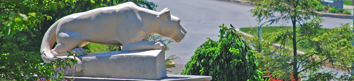 The Nittany Lion Shrine overlooks the entrance to campus