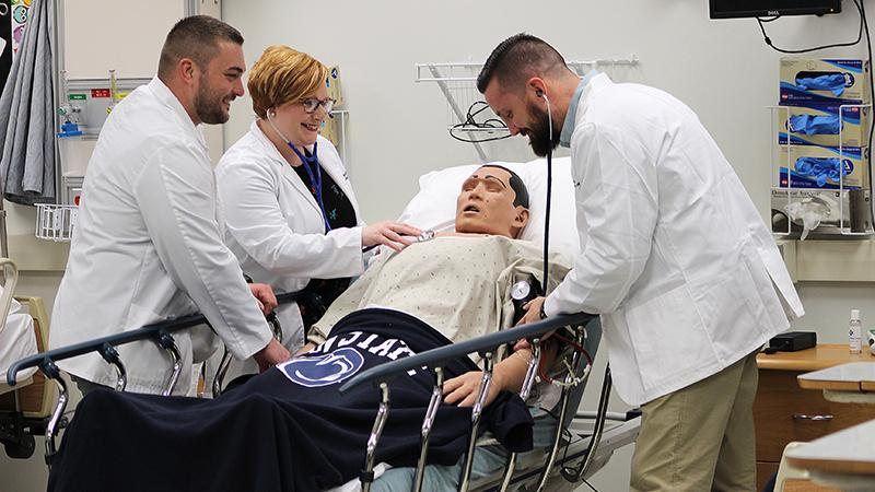 Nursing students at Penn State Mont Alto practice in the lab