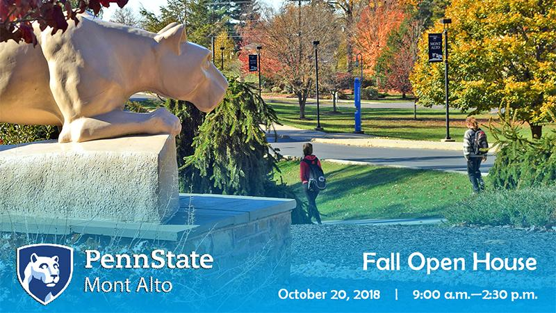 2018 Penn State Day graphic - student walking in autumn past the Lion Shrine at Penn State Mont Alto