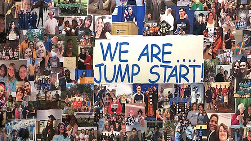 Jump Start bulletin board filled with photos