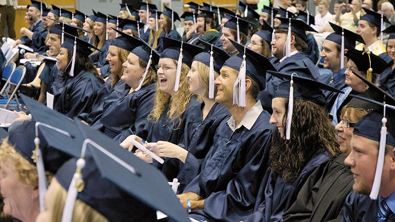 Male and female students graduate at Penn State Mont Alto
