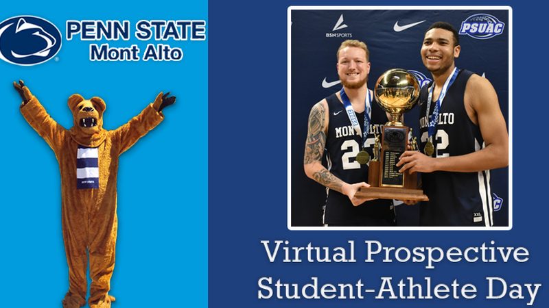 "students with trophy and mascot ""Virtual Prospective Student Athlete Day"""