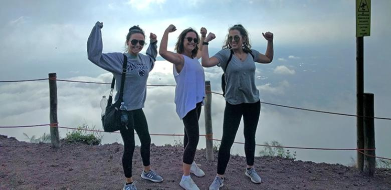 Penn State students climb Mount Vesuvius while visiting Italy through the HDFS in Florence summer program