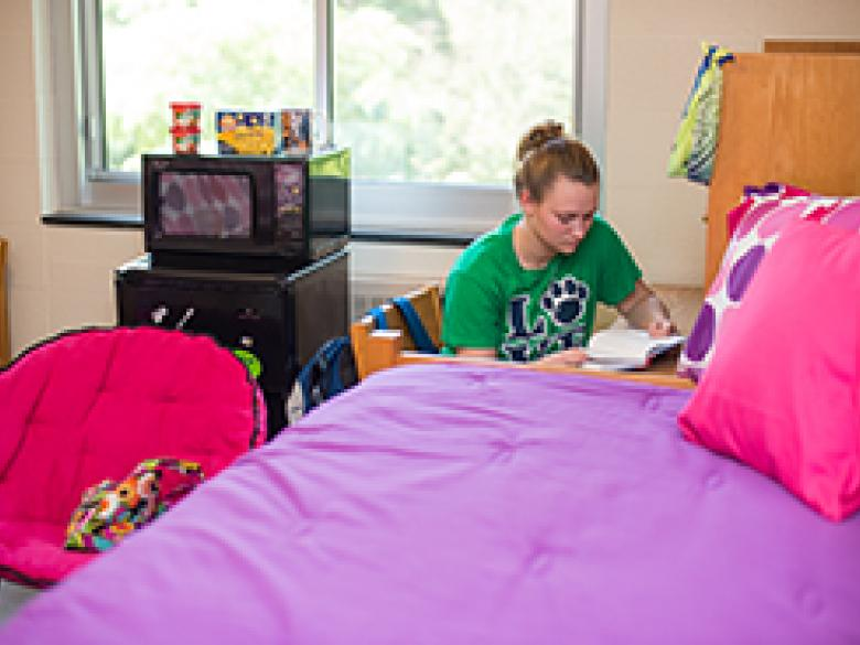 A student studies in her residence hall room