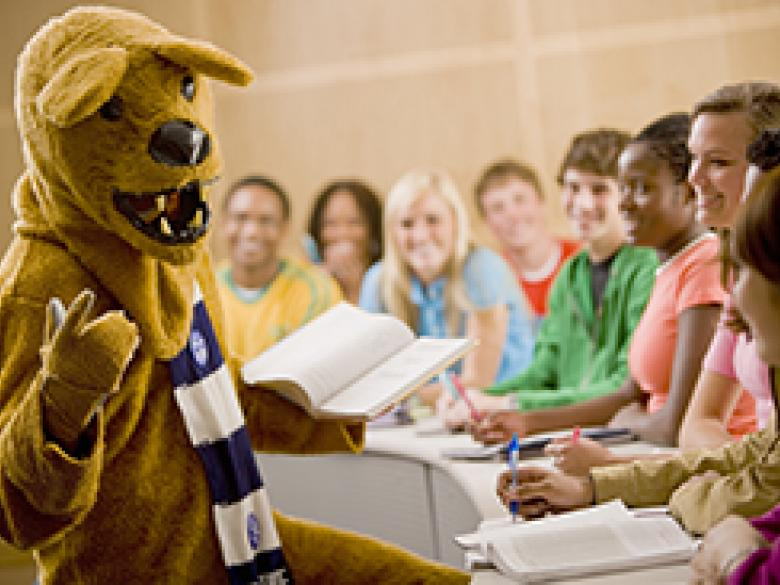 Nittany Lion instructs students in classroom