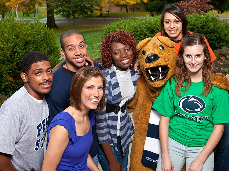 Penn State Mont Alto students surrounding the Nittany Lion mascot