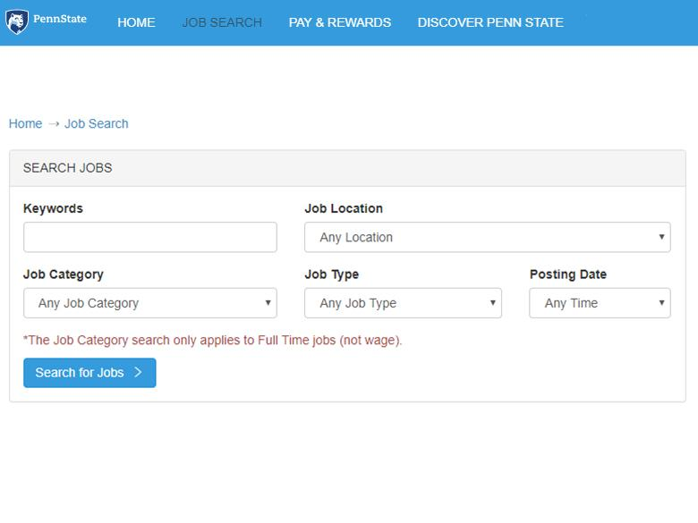 Screenshot of search fields at Penn State Jobs site