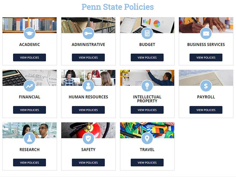 Screenshot of tiles of policy types at Penn State Policies site