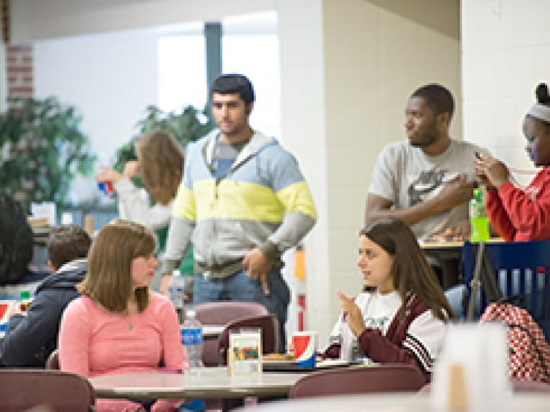 Students socialize in Mill Cafe