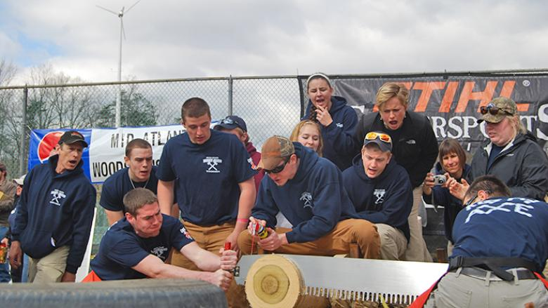 2014 Penn State Mont Alto cross-cut sawyers and their team