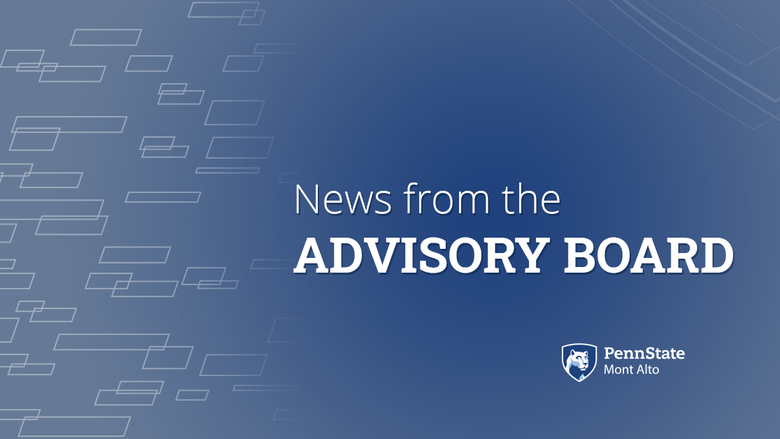 "Blue and gray background ""News from the Advisory Board"""