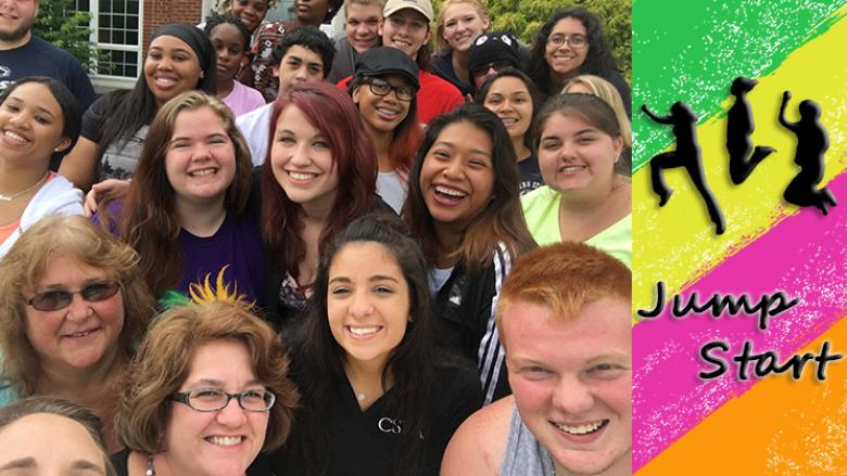 Jump Start student group selfie with Jump Start Logo