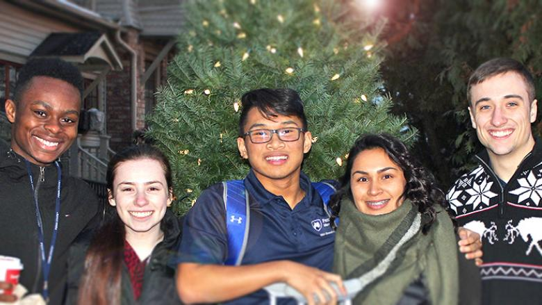 Melizza Zavala Duran spends time with friends on campus