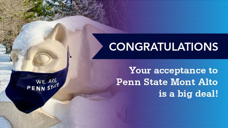 "Lion Shrine with Mask ""Congratulations, Your Acceptance to Penn State Mont Alto is a Big Deal"""