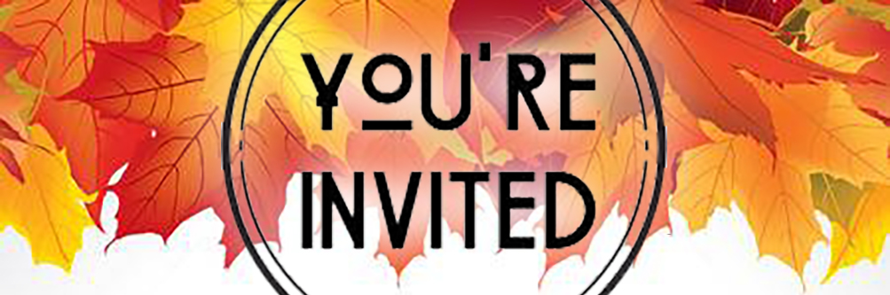 You're invited graphic with fall leaves